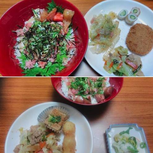 私が宿直で、調理担当の日は、たいがい、海鮮丼を作っています。